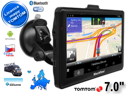 "GPS TRUCK navigace Xtech7054 7"" s Android, BT, WiFi 16GB + licence Tom Tom TRUCK"