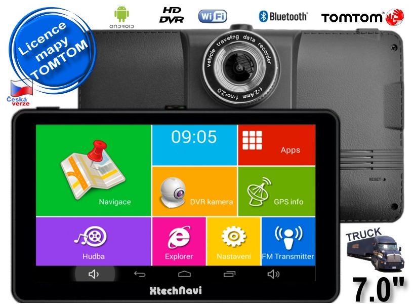 "GPS TRUCK navigace Xtech7055 7"" 16GB s Android, BT, WiFi,kamerou + licence Tom Tom TRUCK"